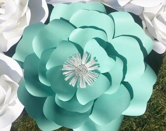Set of 6- Tiffany blue and white paper flowers