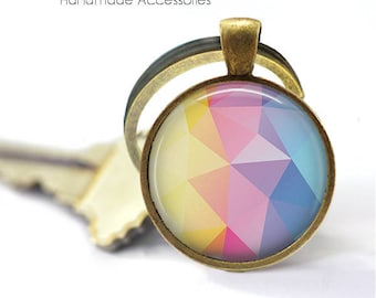 Geometric Key Ring • Pastel Pattern • Boho Style • Pink and Blue • Watercolour • Pastel Prism • Gift Under 20 • Made in Australia (K368)
