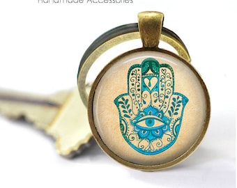 HAMSA HAND Key Ring • Turquoise Hamsa • Hand of Fatima • All Seeing Eye • Evil Eye • Boho • Gift Under 20 • Made in Australia (K534)