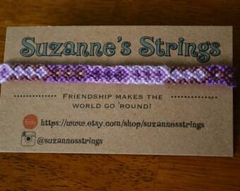 Thin purple diamond pattern friendship bracelet