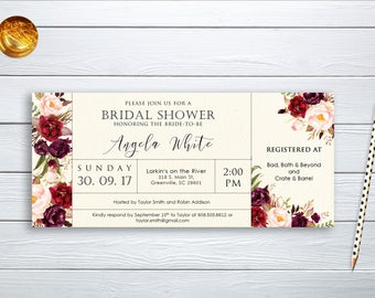 Bridal Shower Invitation Printable Floral Digital Wedding Marsala Burgundy Watercolor Wedding Printable Boho Bridal Shower Invite WS-026a