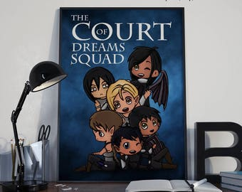 ACOMAF Fan Art Print, A Court of Wings and Ruin Print, Court of Dreams, Night Court, Rhysand, Cassian, Azriel, Feyre, Amren, Sarah J Maas