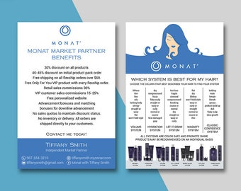 Monat Market Partner Benefits, Monat Systems, Custom Monat Hair Care Card, Fast Free Personalization, Monat Business Cards MN03