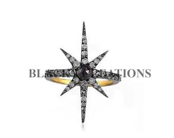 Handmade 925 Sterling Silver 0.82 ct Pave Diamond Star Shape Ring Jewelry