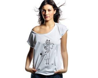 Devil may care printed womens cotton tshirt, original hand drawn printed tee, humor tshirt, mom tee, pencil sketch print, devil is a woman,