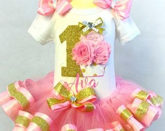 Pink and Gold 1st Birthday Cupcake Tutu