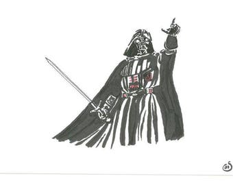 Medieval Darth Vader Sword !! An original A5 sketch in ink