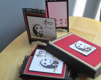 Panda Screen Card Boxed Set, screen card set, note card set, set of 5 cards