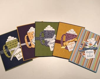 Thanks a latte card set, Set of 5 Thanks a latte cards, Boxed set of coffee themed thank you cards, Thanks a latte