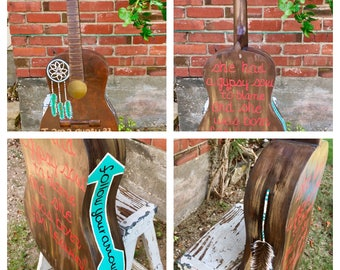 Hand Painted Native American Dream Catcher Guitar
