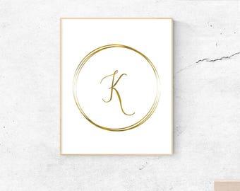 Letter K, gold, monogram, letter, initial, instant download, gold poster, printable art, wall art, gold monogram