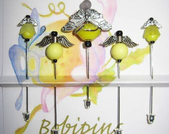 Five Yellow Bees Decorative Pins, Friendship Pins for Sharing, Quilting, Sewing, Scrap Booking, etc.