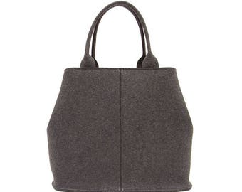 Dark Gray Felt Tote, Oval Tote, Shoulder Bag, Medium Handbag, Heathered Charcoal Gray Felt
