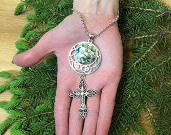 Abalone & Cross Pendant