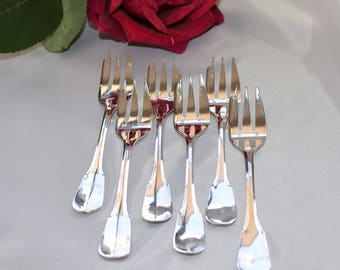 Set of French vintage silver plated cake forks by ERCUIS