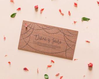 """Engraved Wood Invitation Model """"garlands"""""""
