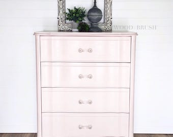 CUSTOM LISTING for MORGAN * Tall Pale Pink Vintage French Provincial Dresser