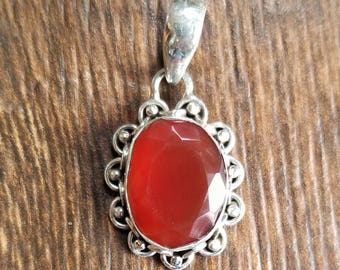 925 Sterling Silver Faceted Carnelian Pendant
