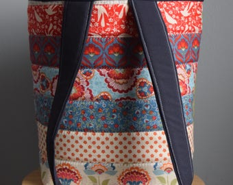 Homemade Quilted tote. Quilted purse. Quilted bag. Blue. Carry All tote. Patchwork tote.