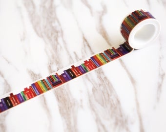 Library Washi Tape/Striped Washi / Masking tape/ japanese washi tape/Planner Supplies