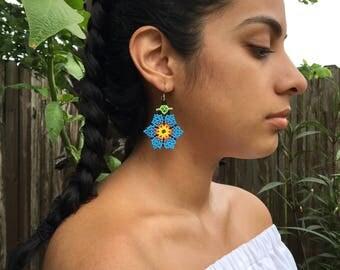 Blue Huichol Flower Earrings