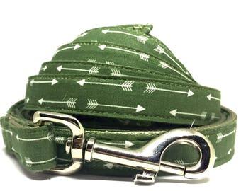 Green Leash, Arrows, Boy Leash, Unique, Adjustable, Masculine, Cool, Matching Dog Leash