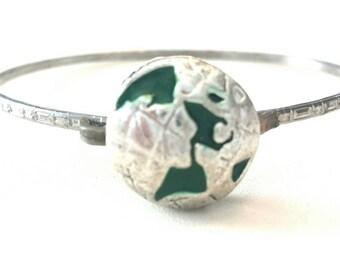 Found Object Earth Globe Bangle Bracelet C