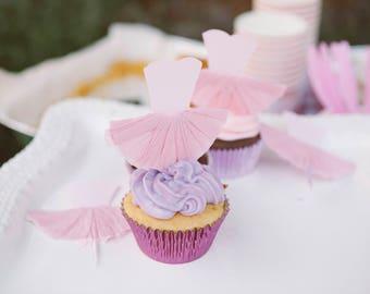 Ballerina Cupcake Toppers, Tutu Cupcake Toppers, Set of 12
