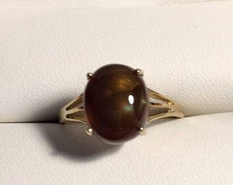 9ct Gold Smoky Quartz Cabochon (3.0ct) Ring Size 6 3/4 US (N UK) 2.37 grams 2005