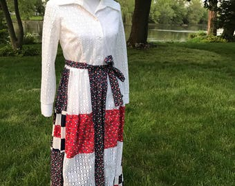 Vintage 1970s Patchwork Dress