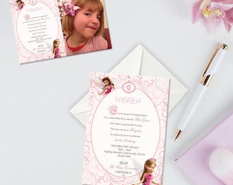 Childrens Birthday Invitation, Pink Fairies, Once Upon A Time Birthday Party Invitation, Pack of 10, Afforable Invitations With Envelopes