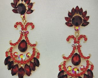 Red  Crystal Chandelier Pierced Earrings