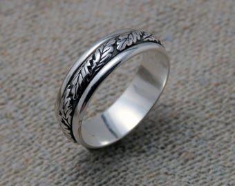 Oak leaf ring, sterling silver band, wedding band, oak tree, wedding ring, Latvian ring, men ring, gift for men, sterling silver ring, gift