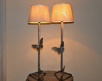 pair of wrought iron Butterfly lamp