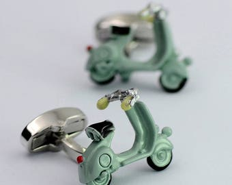 The Chase Cufflinks: Men's Fashion Accessory w/ Light Green Scooter. Perfect for Weddings, Formals, Proms and Special Occasions.