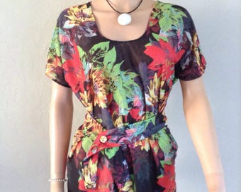 Floral printed summer tunic and foliage 36/38/40/42/44/46