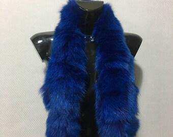 Real Blue Electrik Fox Fur Small Collar