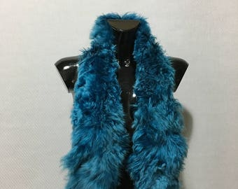 New Real Natural Blue electrik collor tibet lamb Fur Scarf