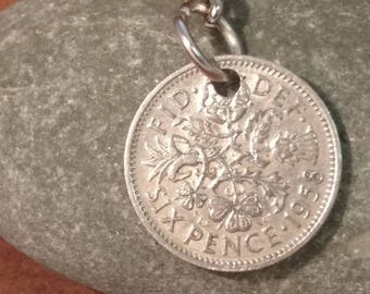 1958 Queen Elizabeth II British Sixpence Coin Keyring, English Coin Keychain. British Coin Key Ring, Lucky Sixpence