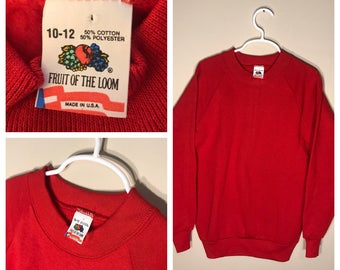 Vintage Fruit of the loom sweatshirt // youth large 10-12 // blank deadstock NOS crew neck // crew neck 1980s rare