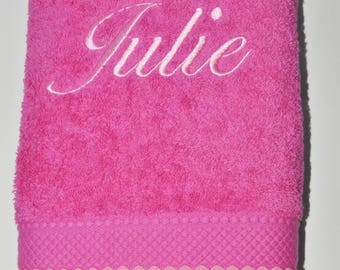 hot pink towel custom embroidered with light pink rickrack