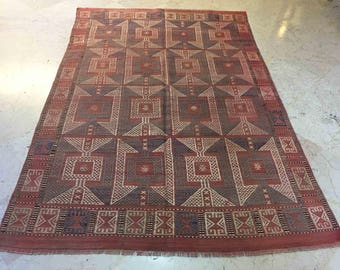Nomadic Rug, Eclectic Rug, Floor Rug, Area Rugs 5x7, Cottage Chic, Embroidered Rug, Rustic Style, Boho Rug, RS18033