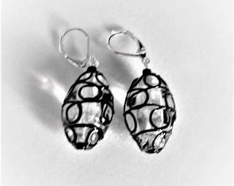Voleena Wire Wrapped Black Wire Clear Glass Oval earrings; handmade