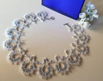 "Bridal necklace model ""Clear blue"""