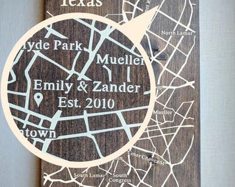 House Address Map, Large Wooden Map, Wooden Street Map, Custom Address Map, Custom Housewarming Gift Address, Last Name Sign by Novel Maps