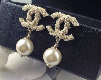 Chanel inspired logo dainty pearl drop earrings