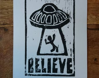 I Want to Believe Woodcut Print