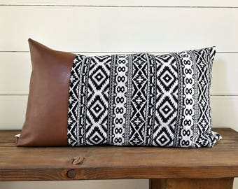 Aztec/ faux leather lumbar pillow cover