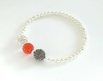 Grey, Orange & Clear Crystal Bracelet, Silver Bead Bracelet, Stretch Bracelet, Sparkly Bracelet, Stacking Bracelet