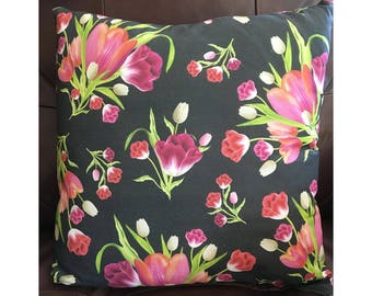 Pink Tulips on Black Background Pillow